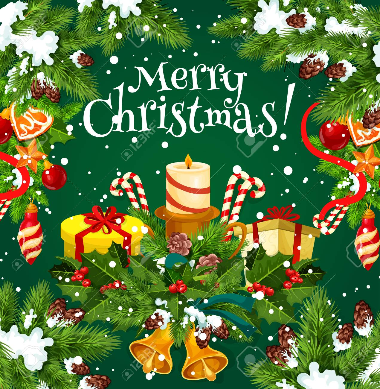 Merry Christmas Wish And Greeting Card Design For Winter Happy ...