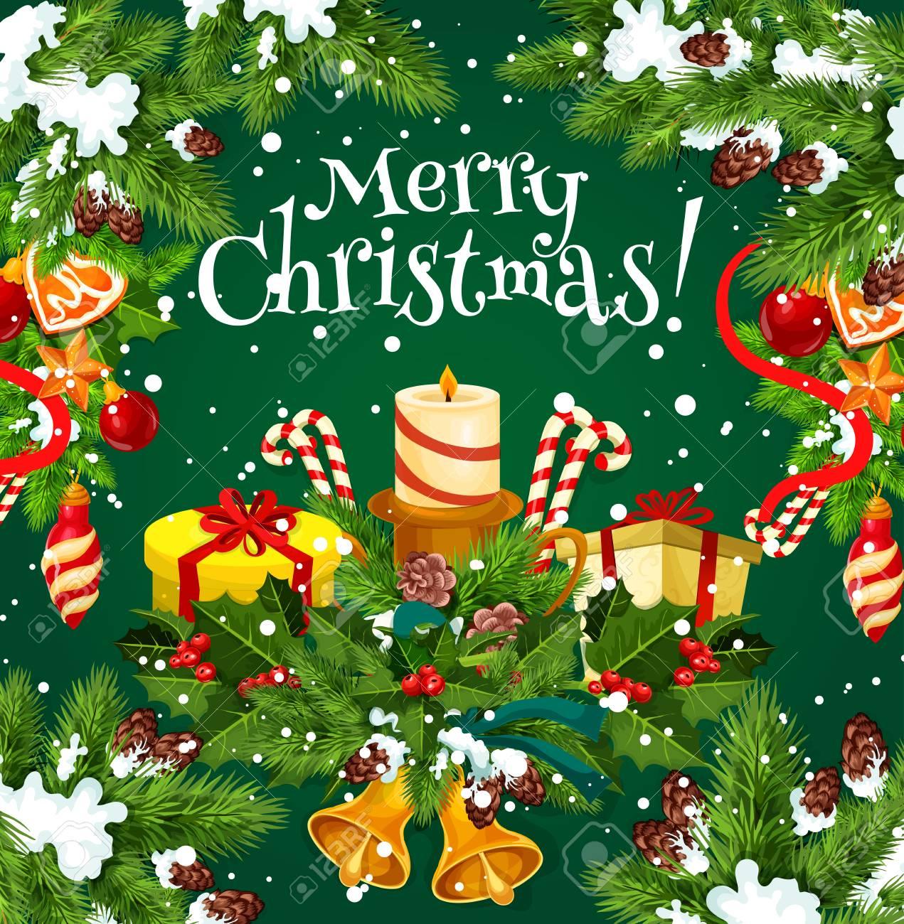 Wunsch- Und Grußkartendesign Der Frohen Weihnachten Für Glückliche ...