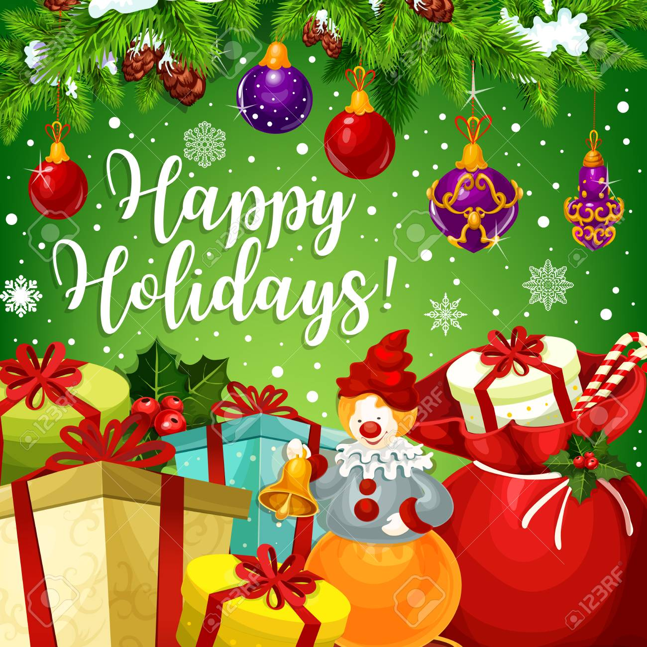 Happy Winter Holidays Greeting Card Design For Merry Christmas ...