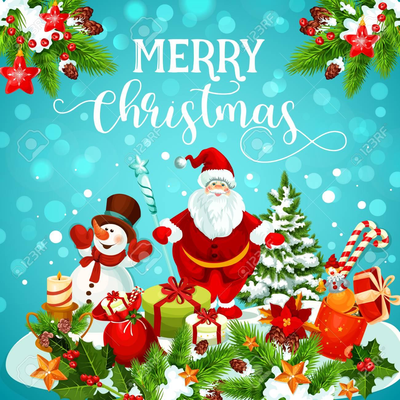 Carte De Voeux De Noël De Bonhomme De Neige, Père Noël Et Cadeau