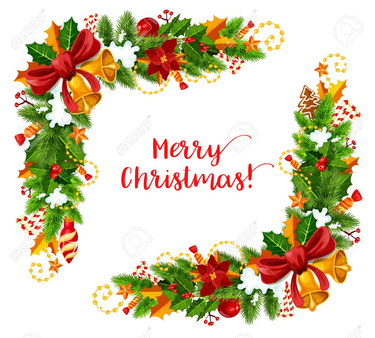 Christmas Frame Corner Of Christmas Tree And Holly Garland For