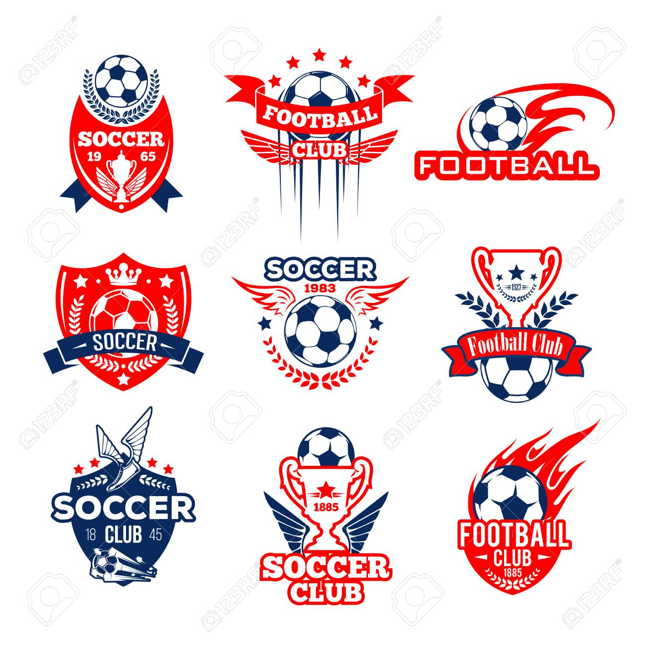 1f39d46819d Soccer or football sport club heraldic badge set. Soccer ball and football  winner trophy cup with flame