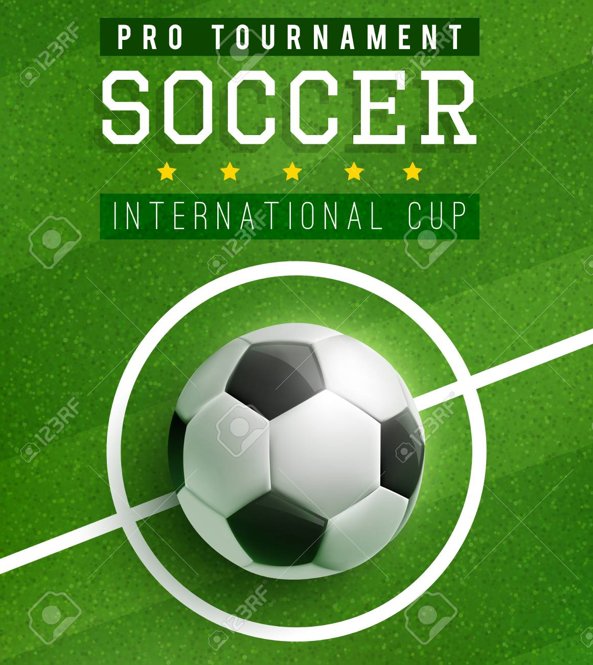 Soccer Ball In Center Of Football Field Poster Template International Cup Sport Game