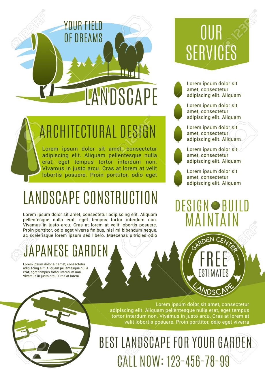 Nice Landscape Design Company Business Banner Template. Landscaping Maintenance,  Lawn Care, Landscape Architecture And
