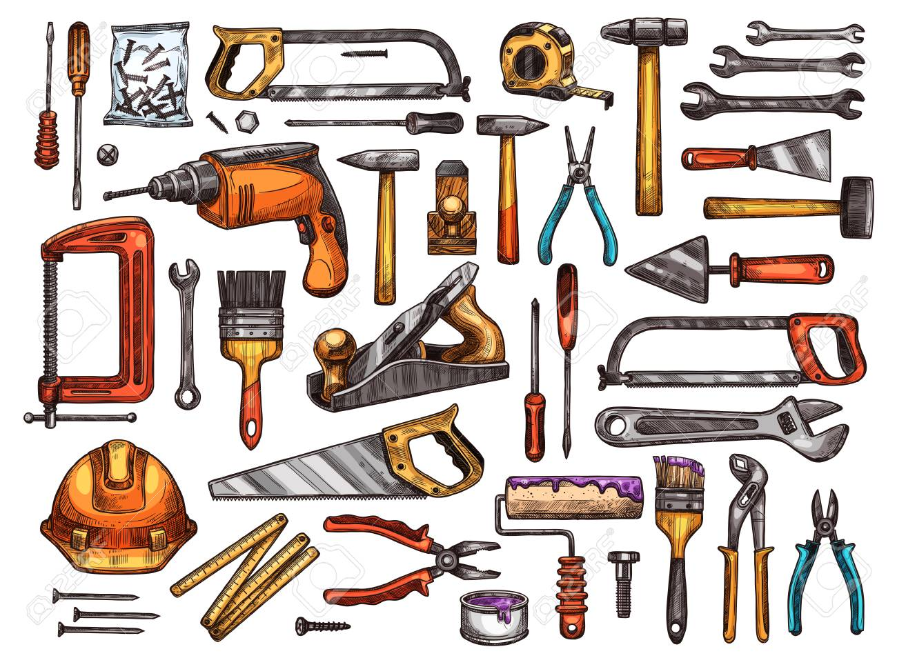 Tool for construction and repair work sketch set. Hammer, screwdriver and wrench, pliers, spanner, paint brush and roller, drill, saw, trowel and screw, tape measure, helmet and vice equipment design - 91363543