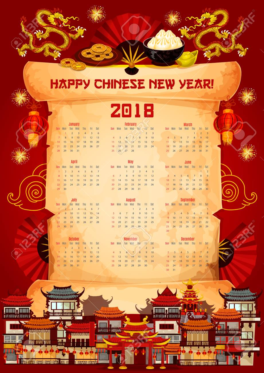 chinese new year 2018 calendar design template on paper scroll stock vector 91806450