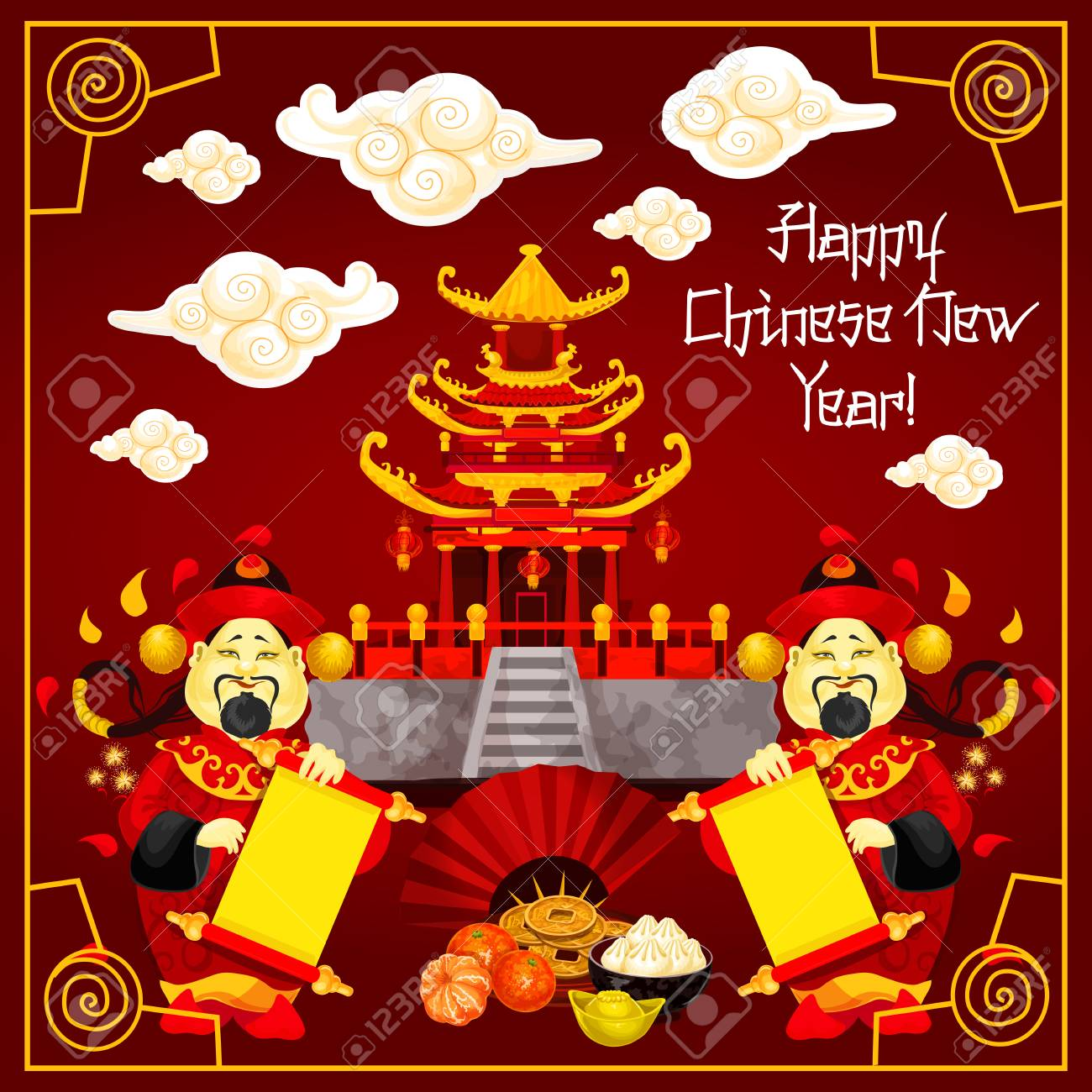Happy chinese new year greeting card design of traditional chinese happy chinese new year greeting card design of traditional chinese temple arch and mandarin man with m4hsunfo