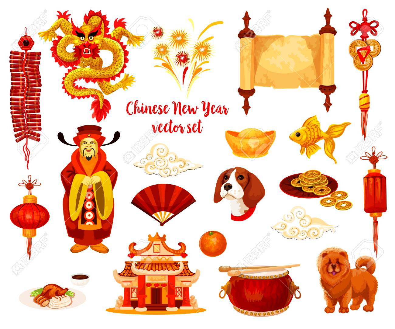 chinese new year symbol set of spring festival celebration stock vector 91793413