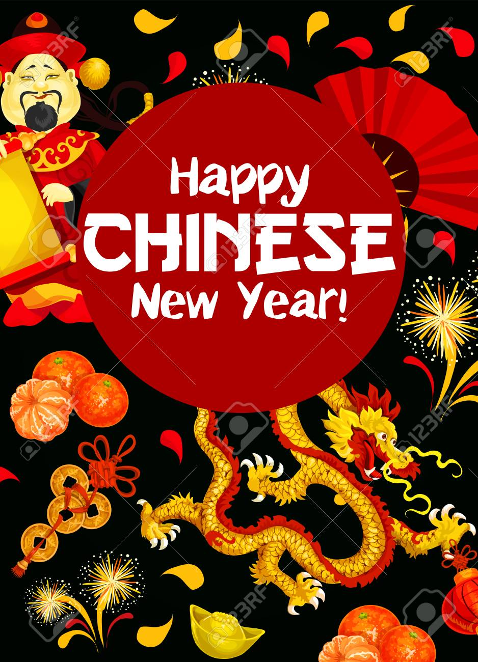 Happy Chinese New Year Wishes Poster With Oriental Holiday Symbols ...
