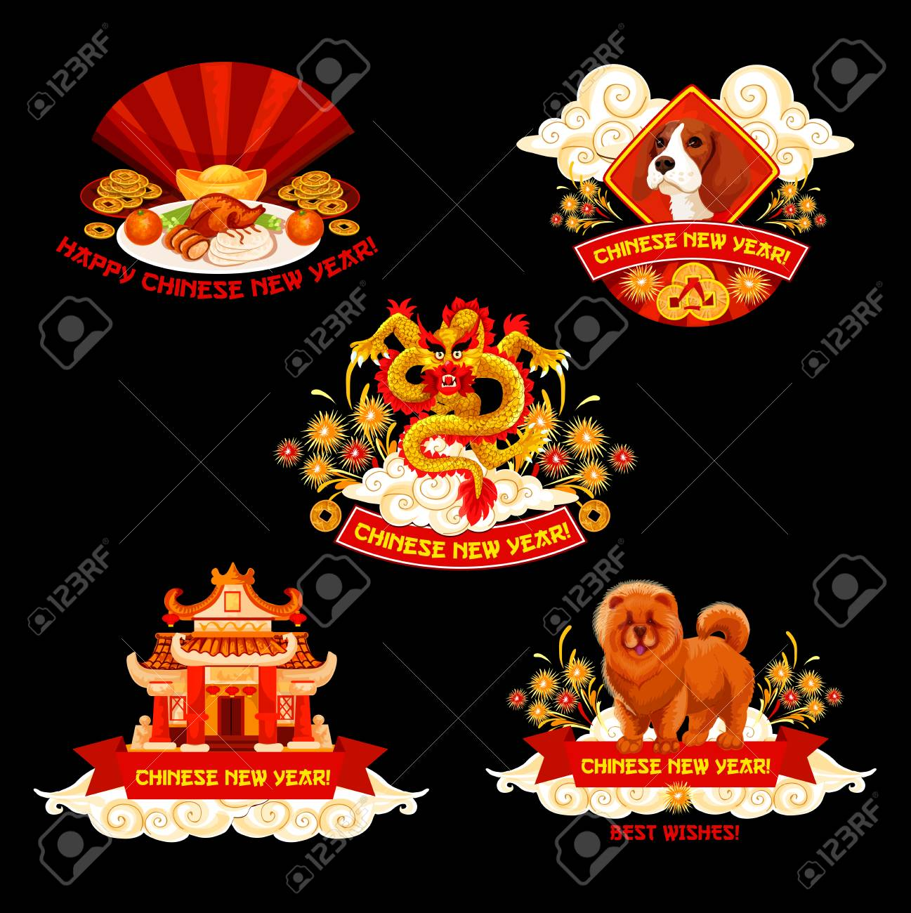 chinese new year label for oriental spring festival design asian dragon zodiac dog