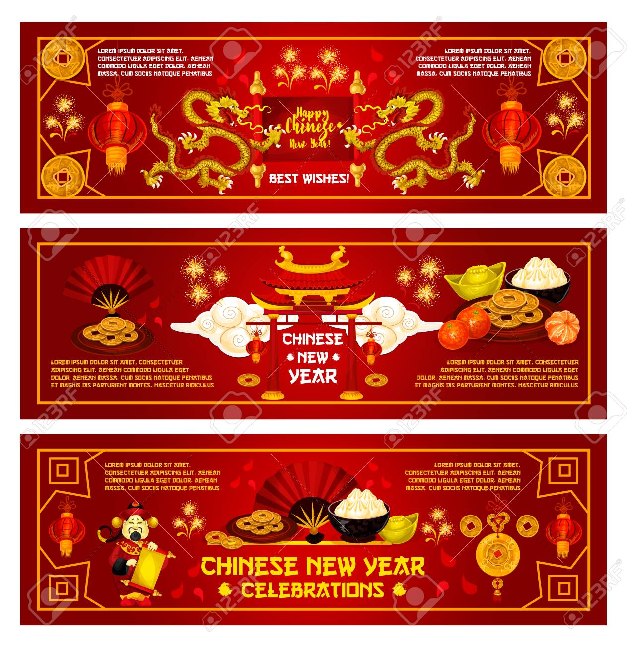 Happy chinese new year greeting card for china lunar holiday happy chinese new year greeting card for china lunar holiday of traditional chinese symbols vector m4hsunfo