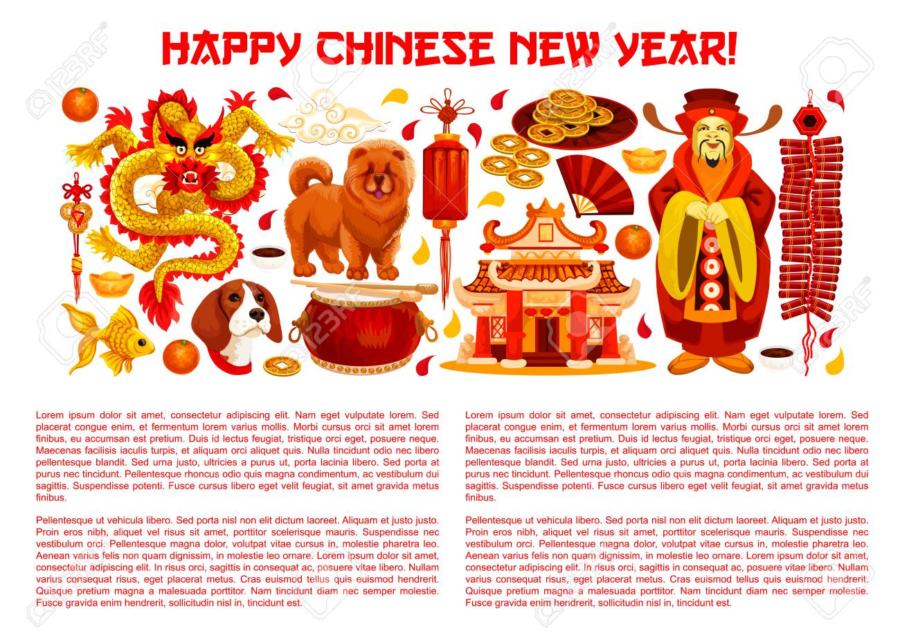 Chinese New Year Banner With Asian Holiday Symbols Royalty Free
