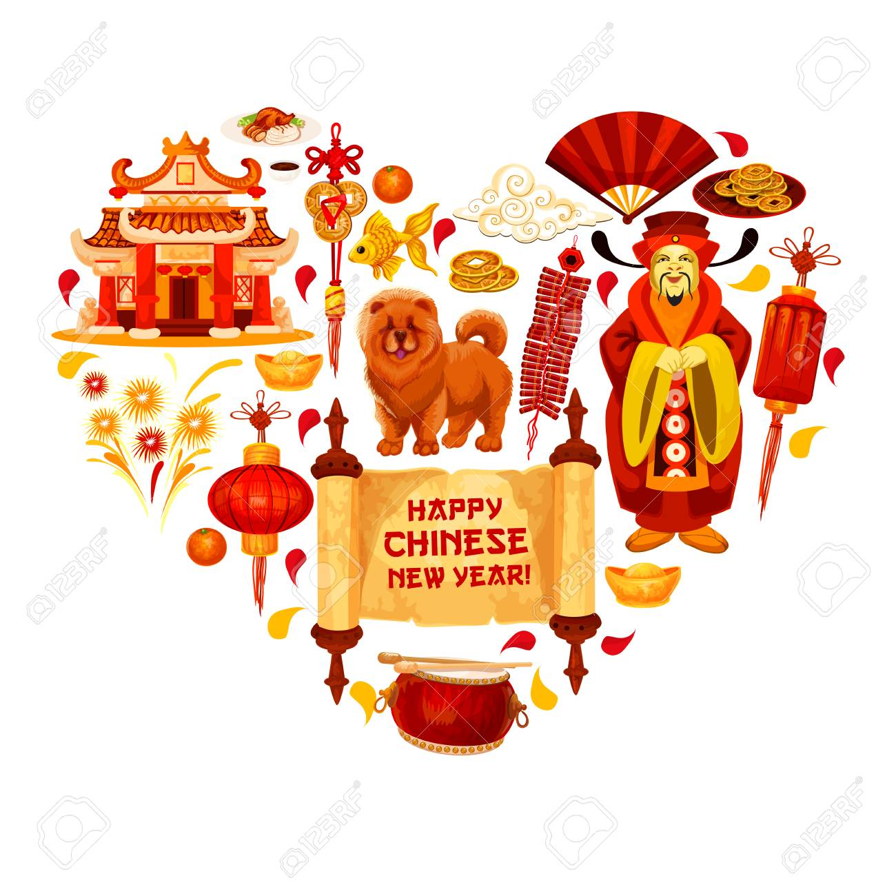 Happy chinese new year wish hieroglyph and traditional lunar happy chinese new year wish hieroglyph and traditional lunar year celebration symbols for greeting card design buycottarizona Images