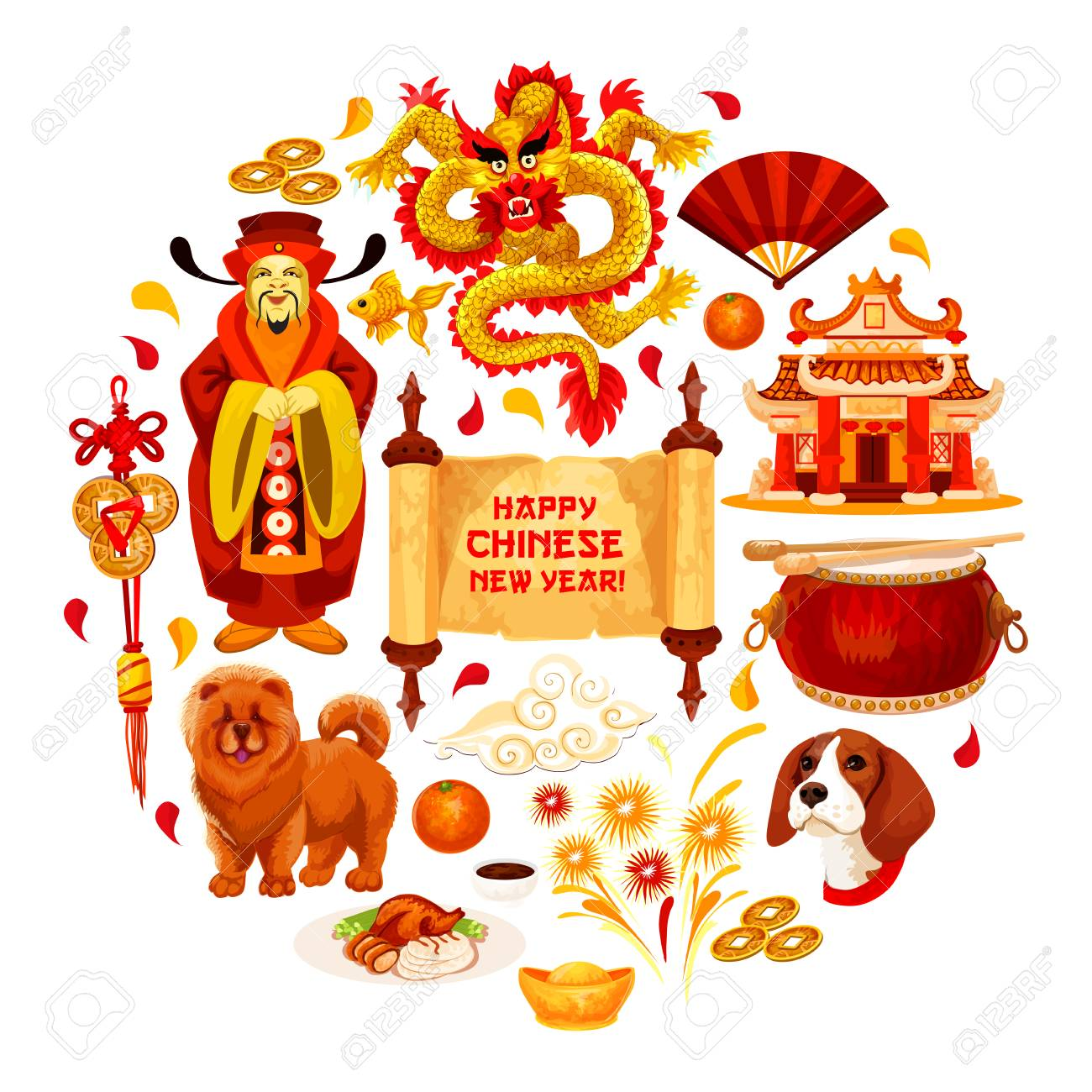 Happy Chinese New Year Poster Of Traditional China Lunar Holiday