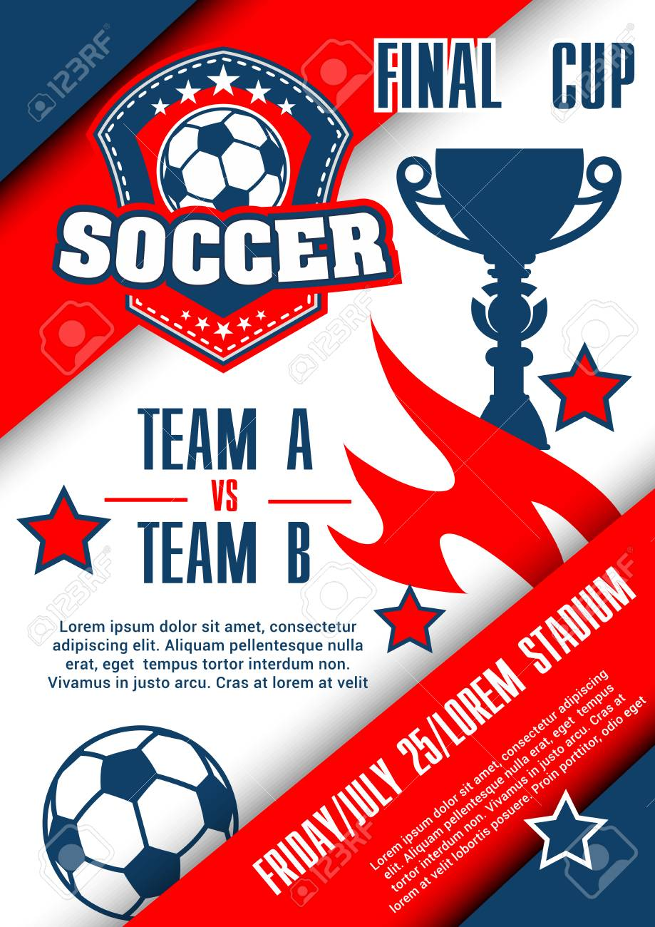 Football Championship Match Poster Of Soccer Final Cup Football Royalty Free Cliparts Vectors And Stock Illustration Image 92594210