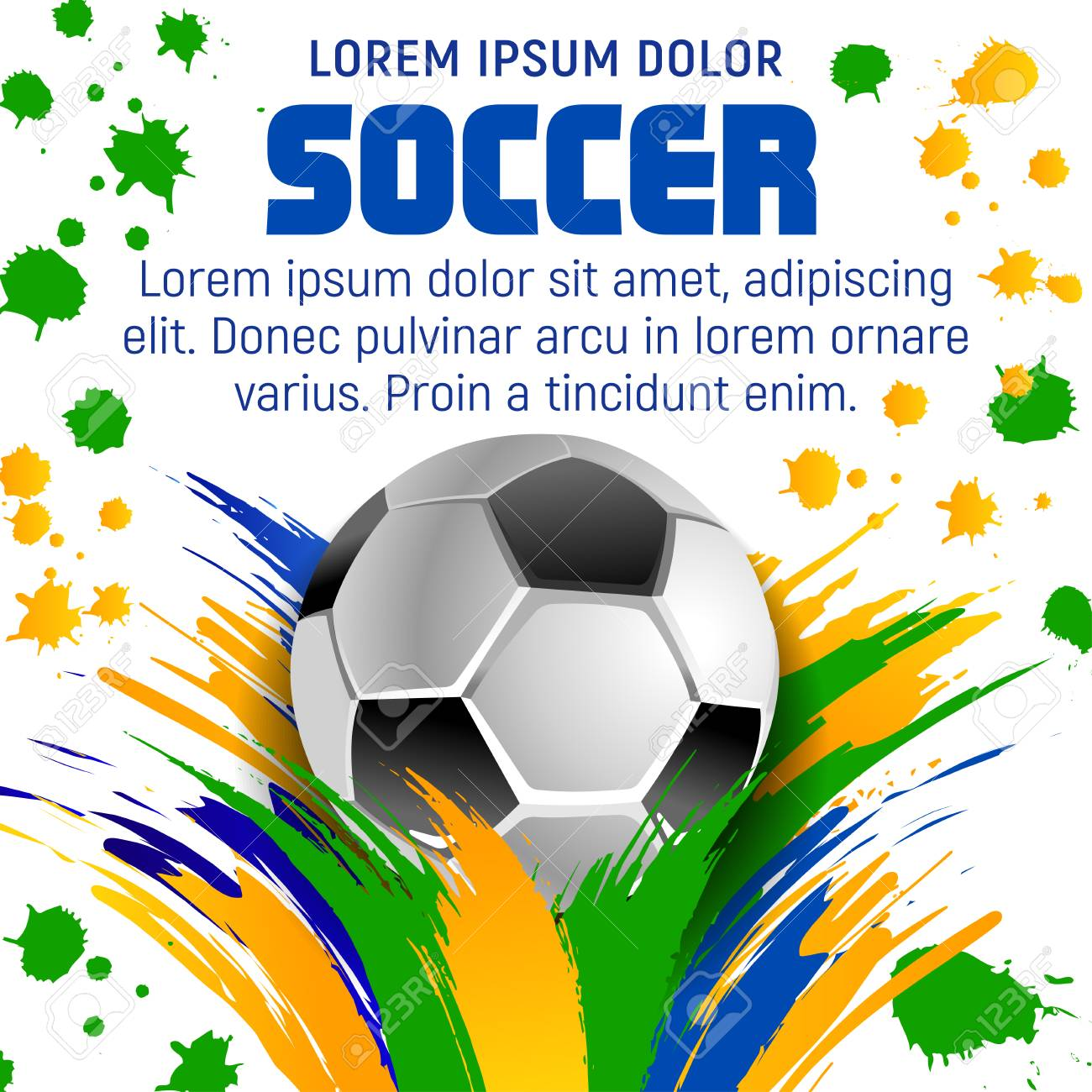 Soccer Ball Poster Template For Football Game Tournament Or Sport Club Design Sporting