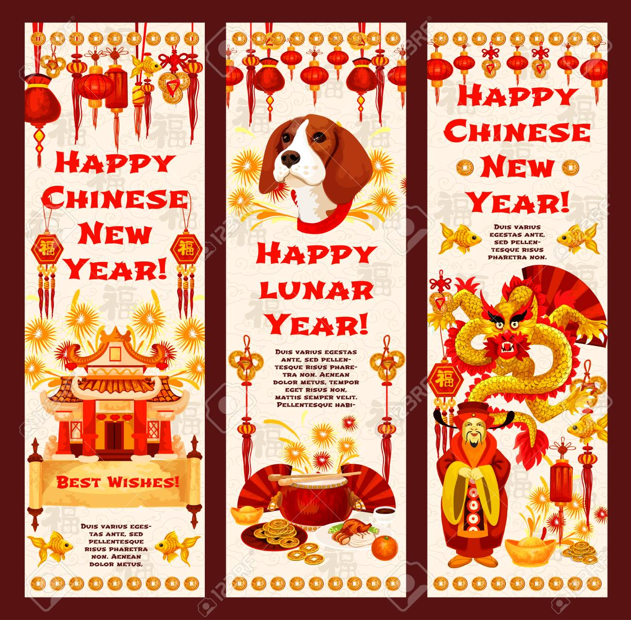 Chinese New Year banner of asian lunar calendar holiday  Dragon,