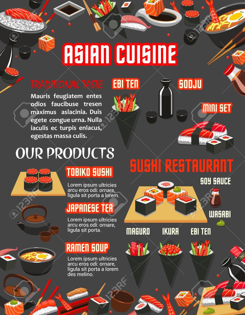 Menú De Restaurante De Sushi Japonés De Plantilla De Cocina Asiática ...