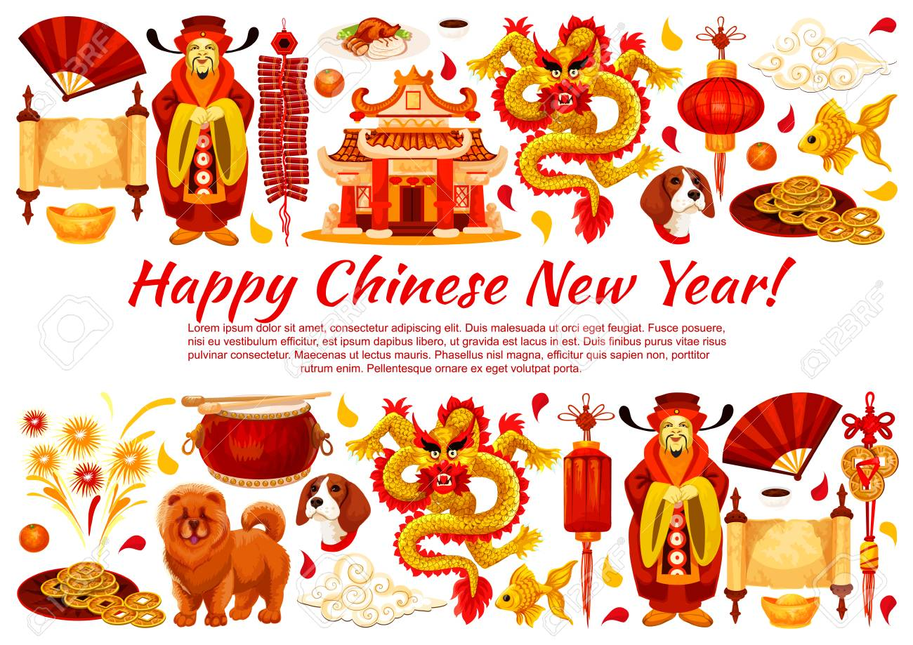 Happy chinese new year greeting card of traditional chinese symbols happy chinese new year greeting card of traditional chinese symbols for lunar year holiday celebration m4hsunfo