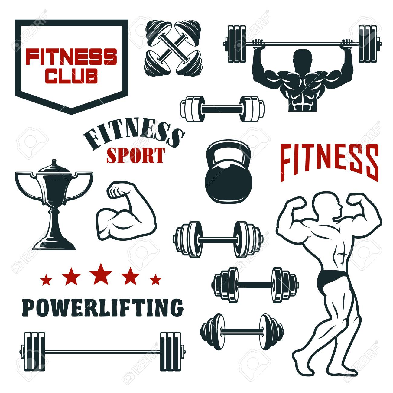 Fitness sport club, gym and bodybuilding vector icon set  Weight