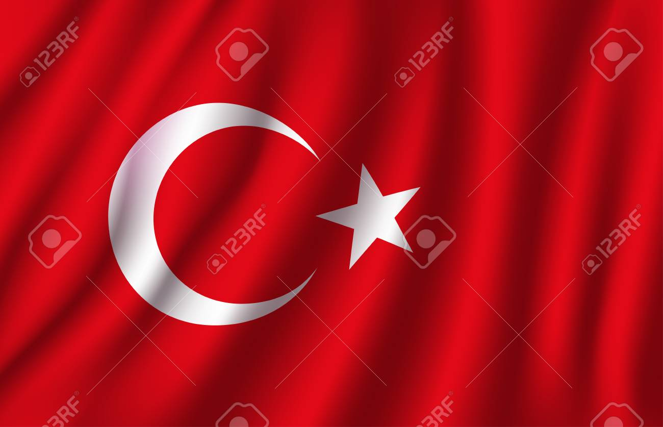 Turkey flag 3D of white crescent moon and star on red color background. Turkish republic European country official national flag waving with curved fabric or waves vector texture - 92747587