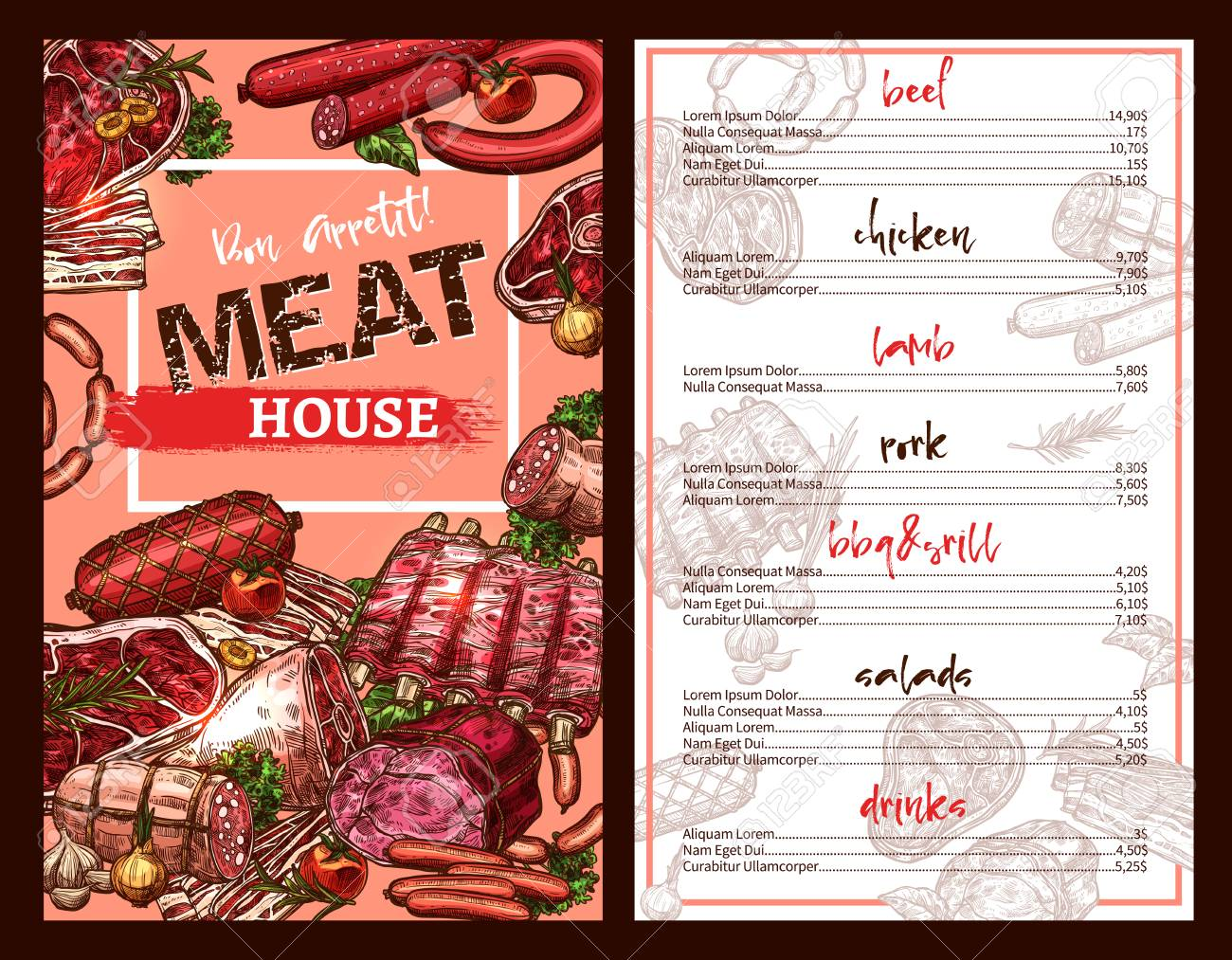 Food Menu Template | Meat House Restaurant Menu Template With Prices For Delicatessen