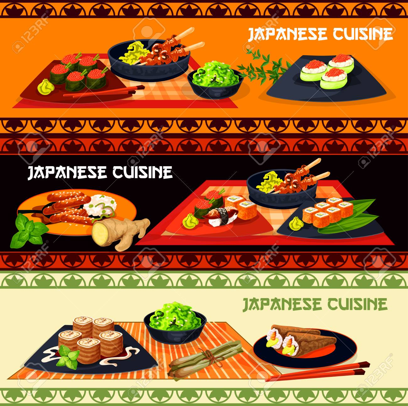 Japanese Cuisine Restaurant Dinner Menu Banner With Seafood And