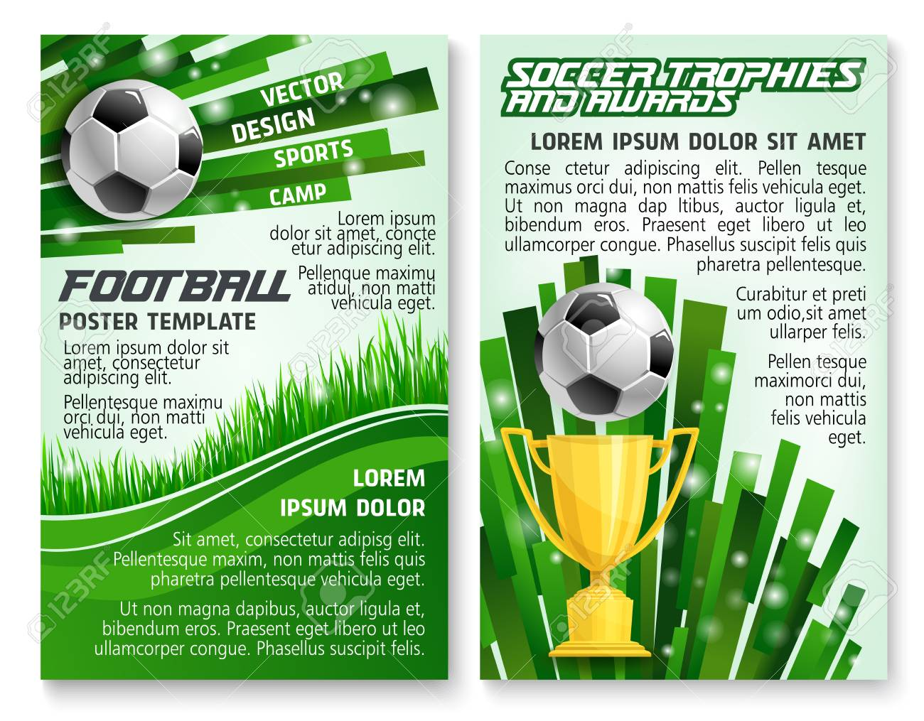 Soccer ball and trophy banner for football sport game template. Golden winner cup with ball on green grass field of soccer stadium for football sport club award information poster design. - 93057475