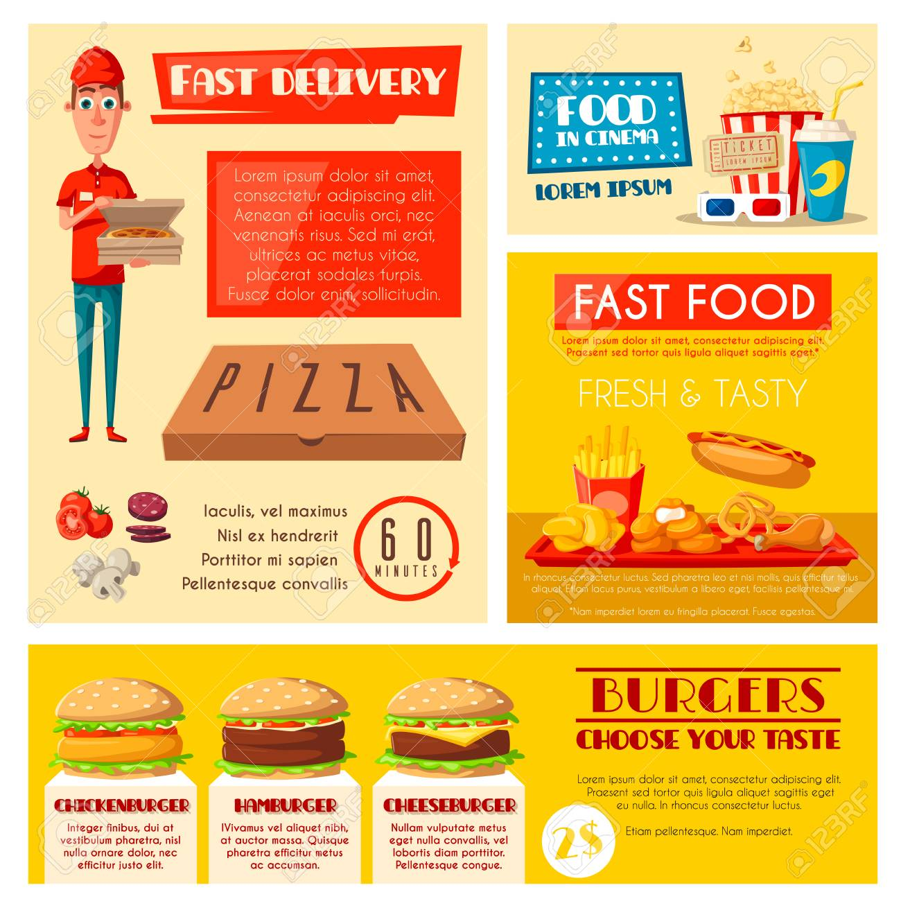 Fast Food Restaurant Banner Set With Takeaway Lunch And Burger Royalty Free Cliparts Vectors And Stock Illustration Image 93018081