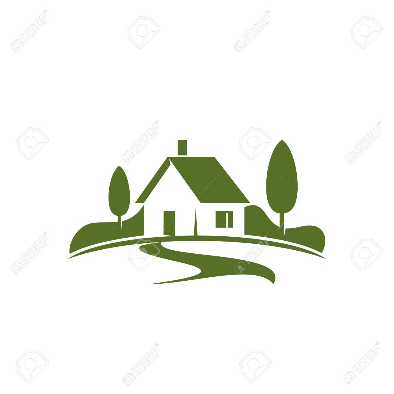Country house or green home icon for real estate agency or ecology home concept. Vector isolated symbol of farm house in green forest or woodlands park for landscape designing company - 93167345