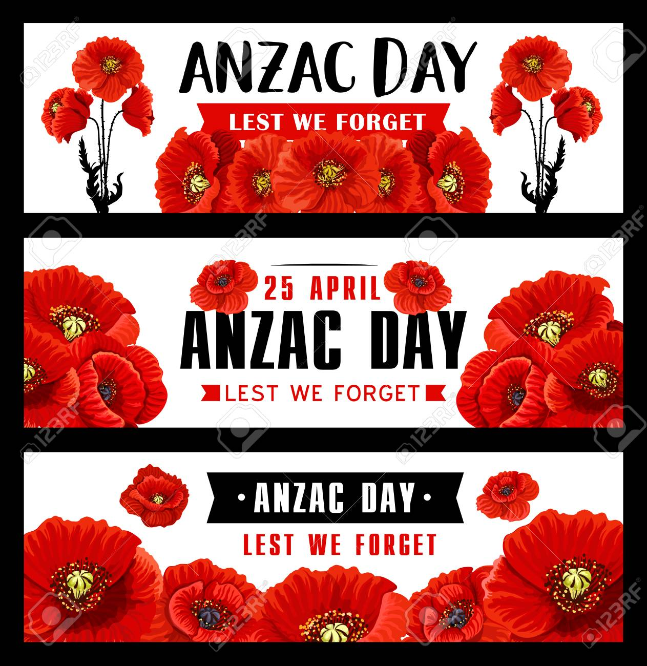 Anzac Remembrance Day Banner With Red Poppy Flower Royalty Free