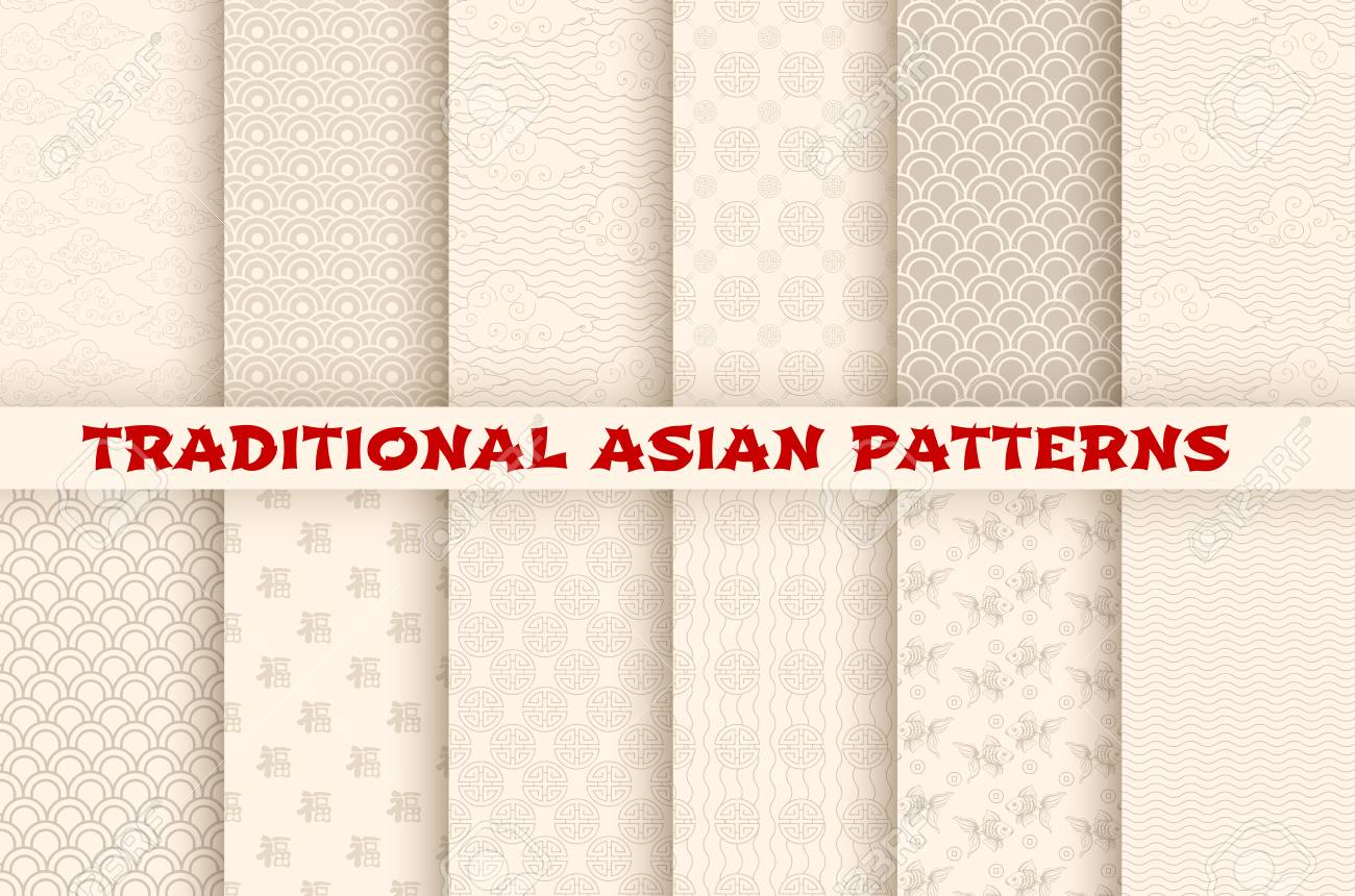 Asian Chinese Japanese vector seamless patterns - 93247678