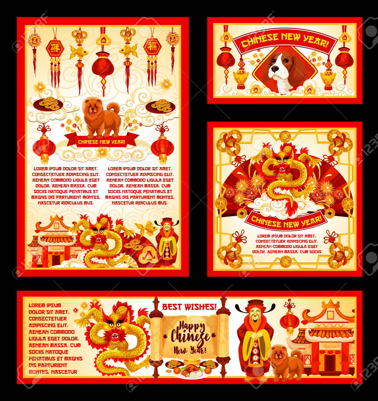 Happy Chinese New Year Greeting Cards Or Banners Of Traditional