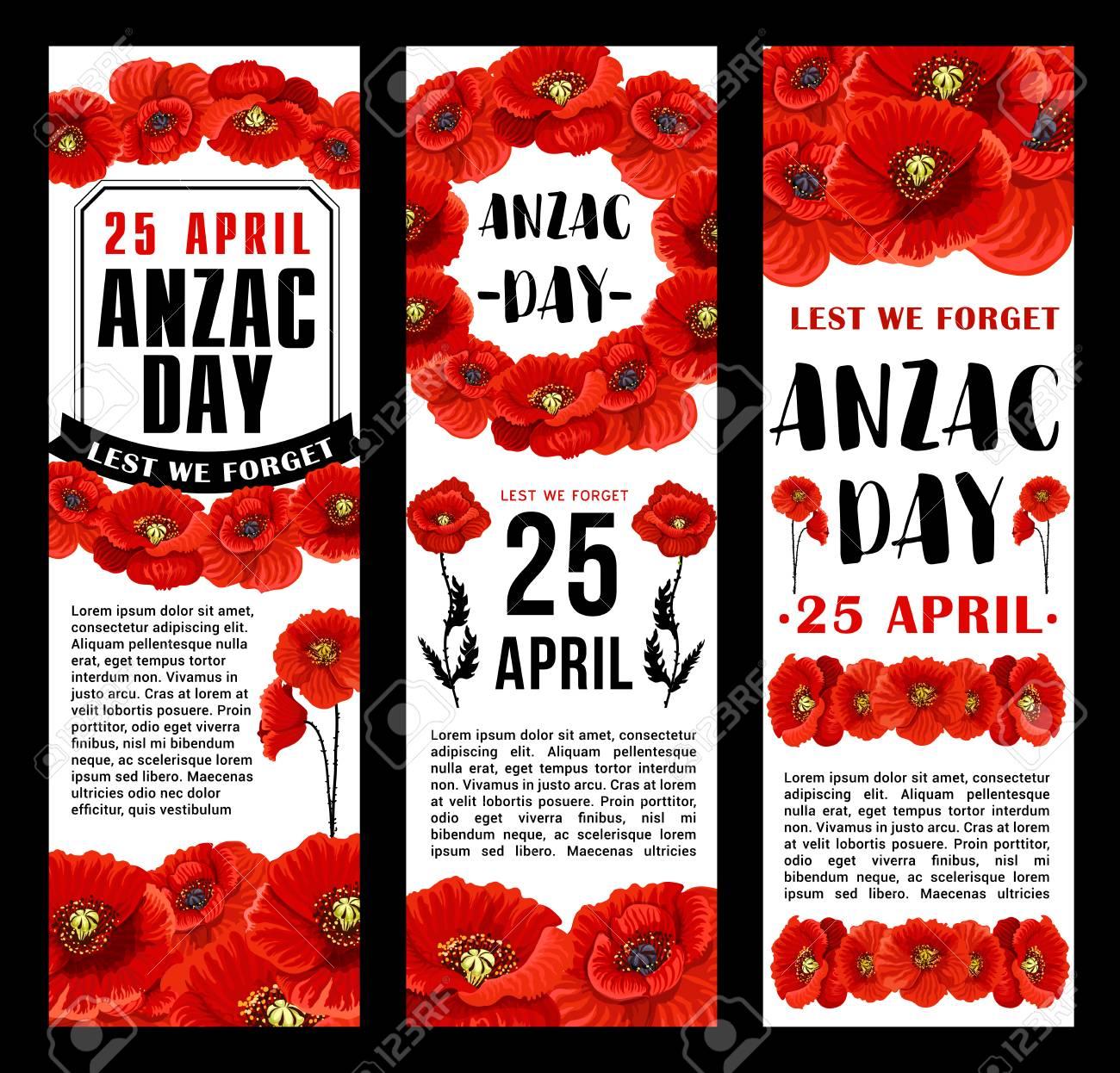 Anzac Day 25 April Australian Remembrance Day Banners Design