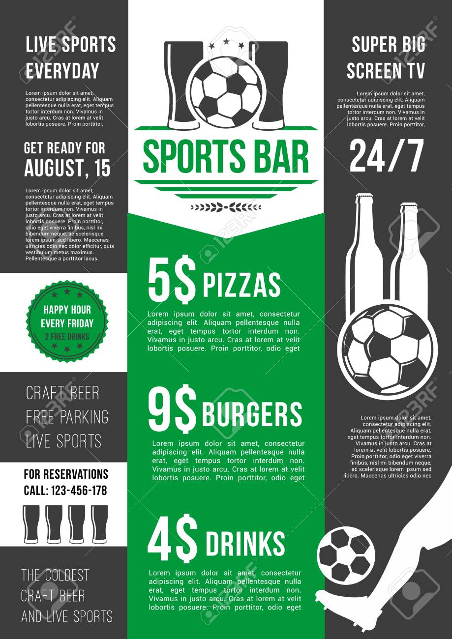 Soccer Sports Bar Or Football Fan Club Beer Pub Menu Template Vector Price For