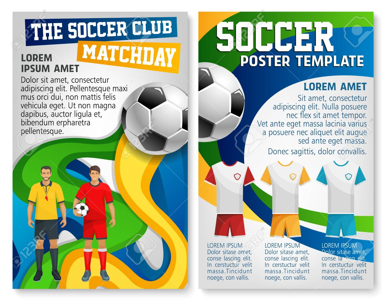 soccer club sport match poster design template for football cup