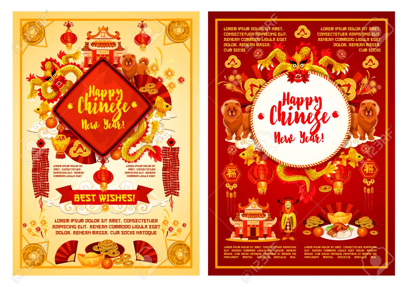 Happy Chinese New Year Red And Golden Greeting Card Design Template