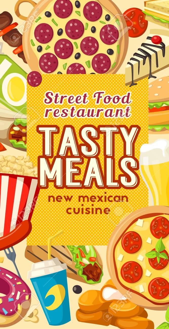 Fast Food Or Finger Food Restaurant And Bistro Menu Template