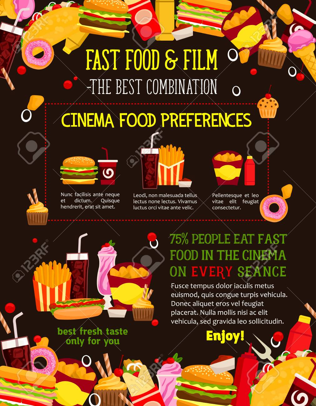 Fast Food Menu Design Template For Cinema Bistro Or Movie Theater Royalty Free Cliparts Vectors And Stock Illustration Image 93369622