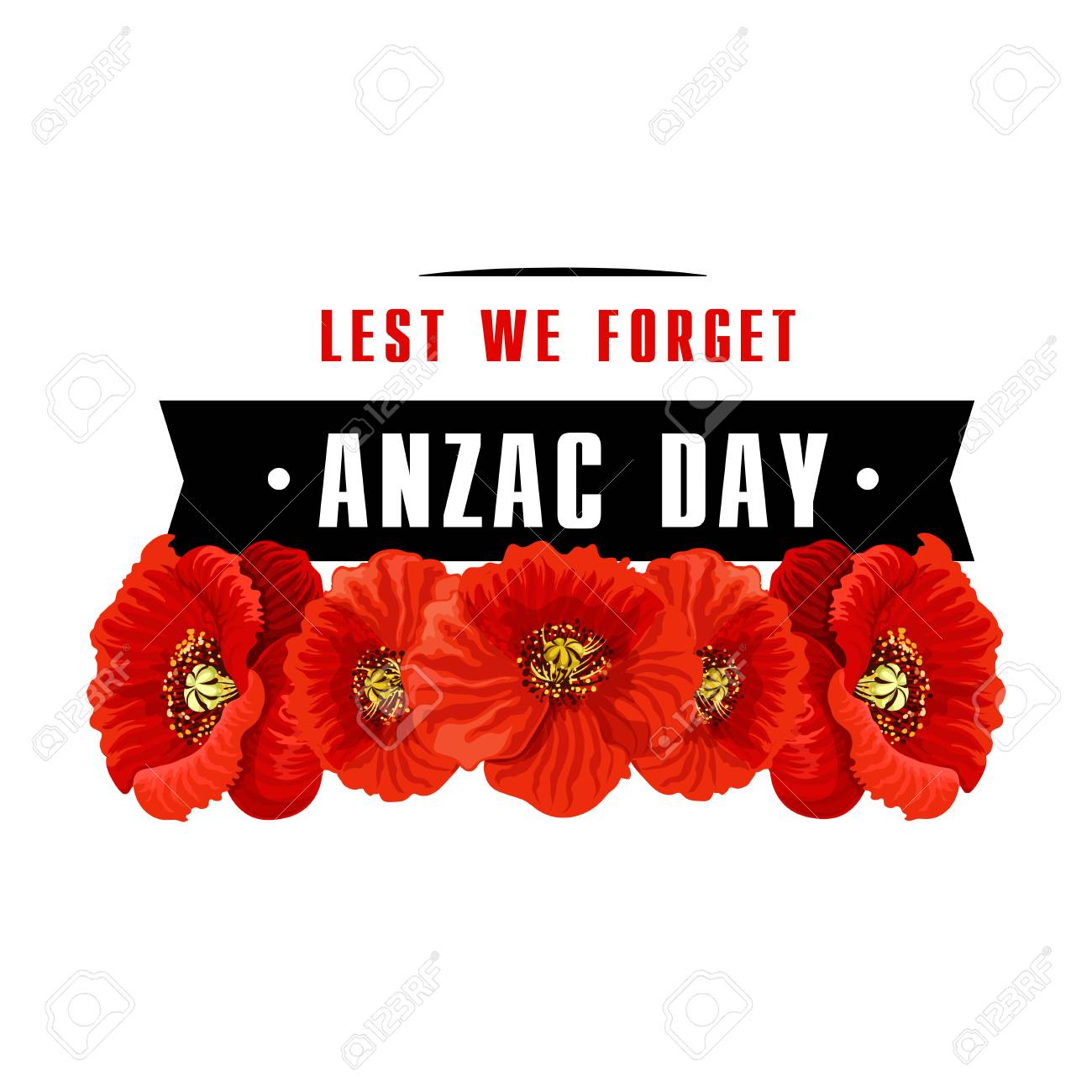 Anzac poppy flower icon with lest we forget banner royalty free anzac poppy flower icon with lest we forget banner stock vector 94133417 mightylinksfo