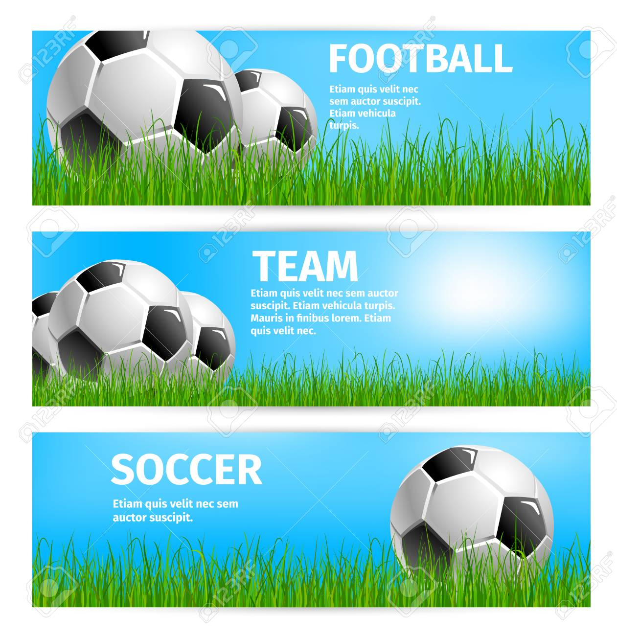 soccer sport team or football game cup banners templates for