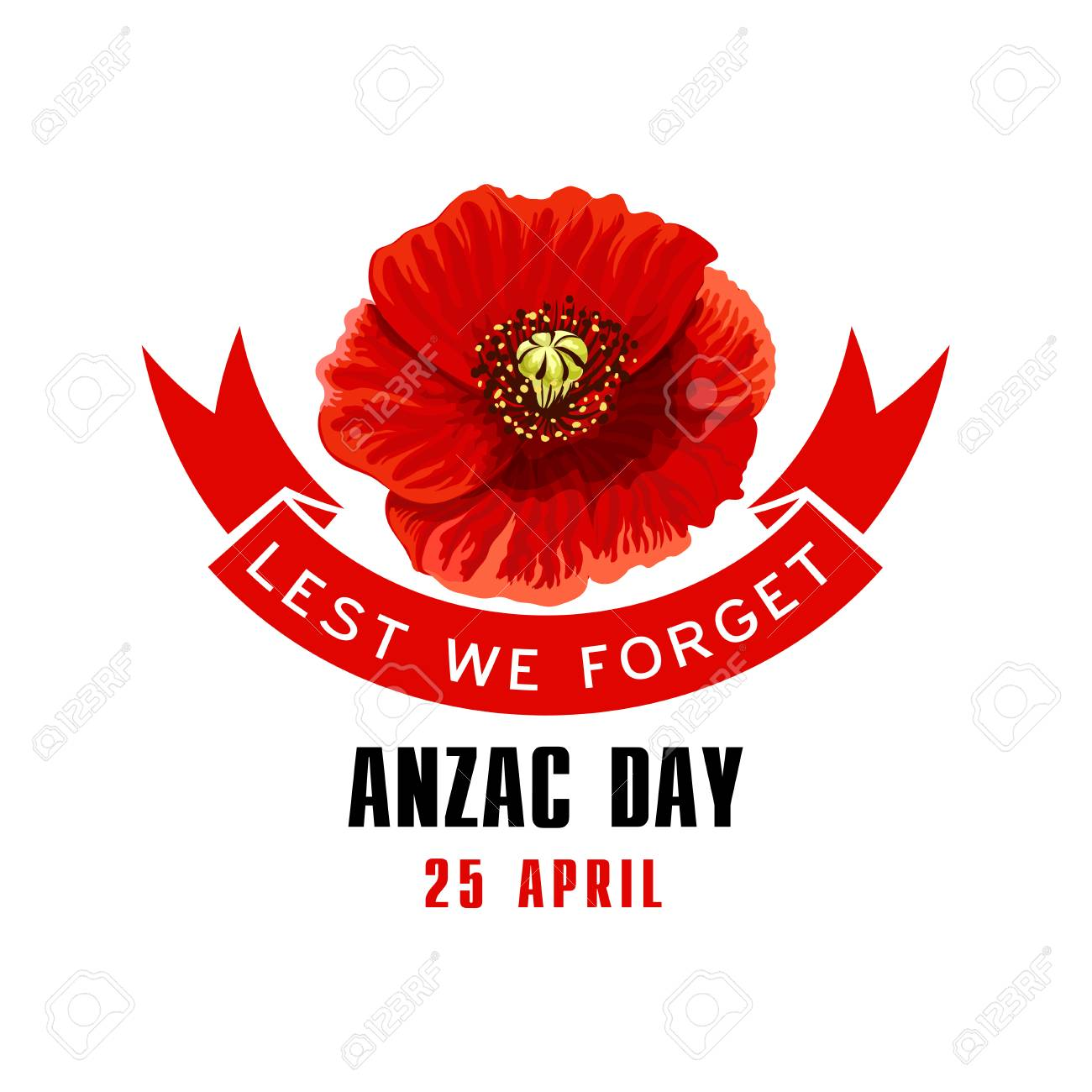 Anzac day lest we forget card with poppy flower royalty free anzac day lest we forget card with poppy flower stock vector 94133747 mightylinksfo