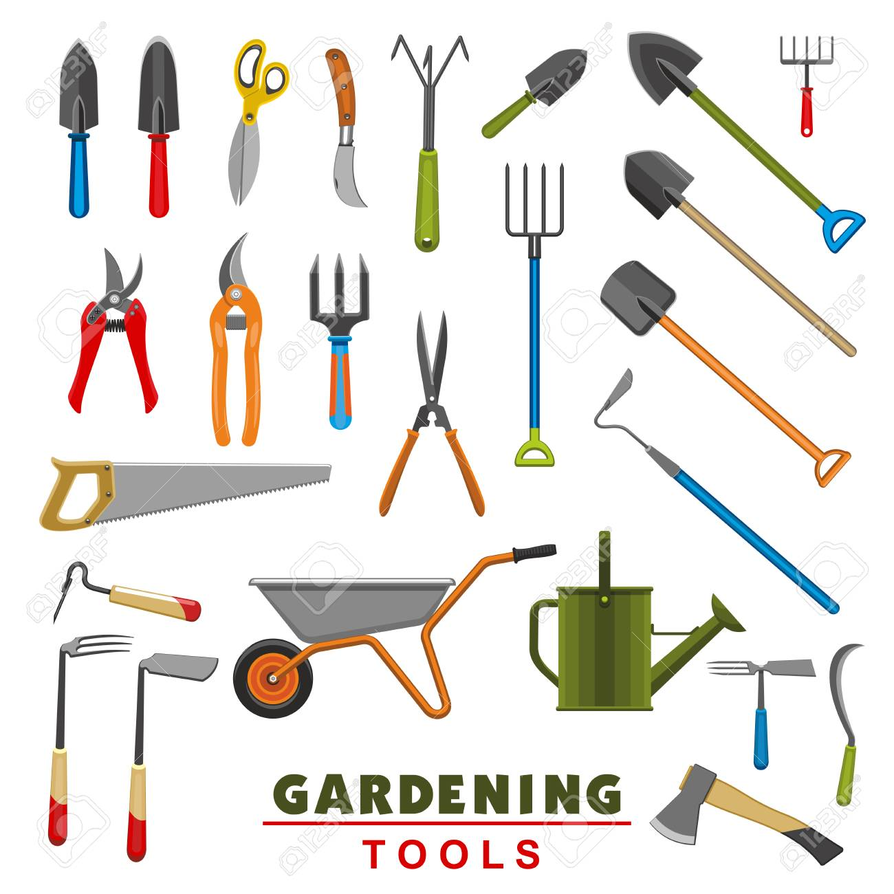 Vector Isolated Icons Of Farm Gardening Tools Royalty Free