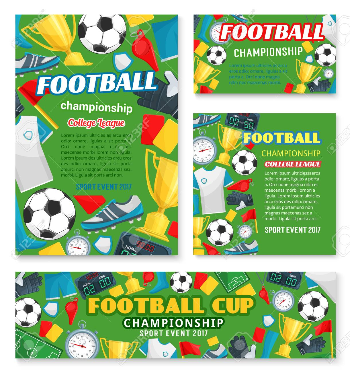 Football Sport Championship Event Banner Of Soccer College League Within Soccer Referee Game Card Template