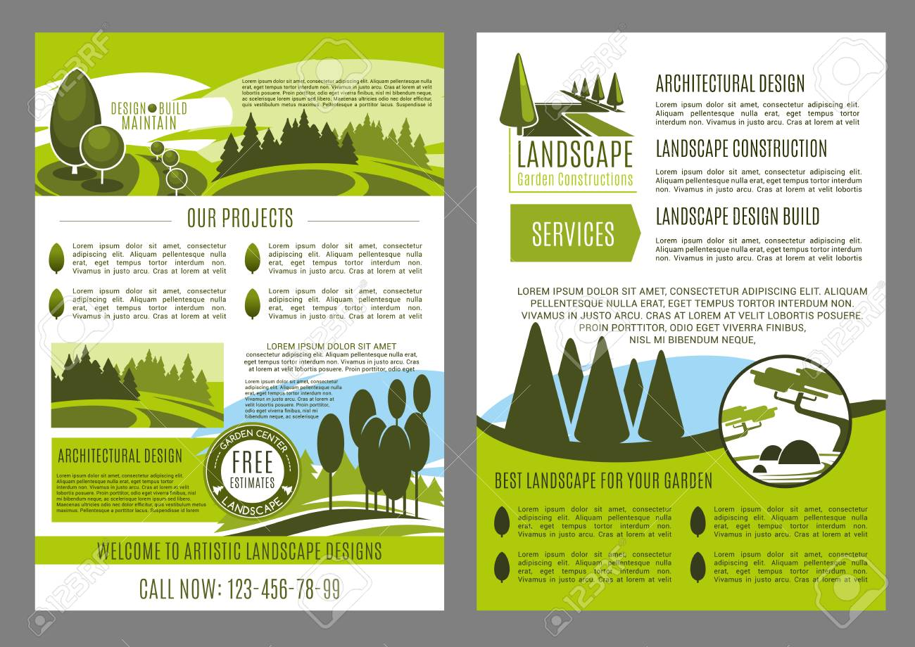 Landscape Design Company Business Brochure Template. Landscape  Architecture, Construction, Park Planning And Garden