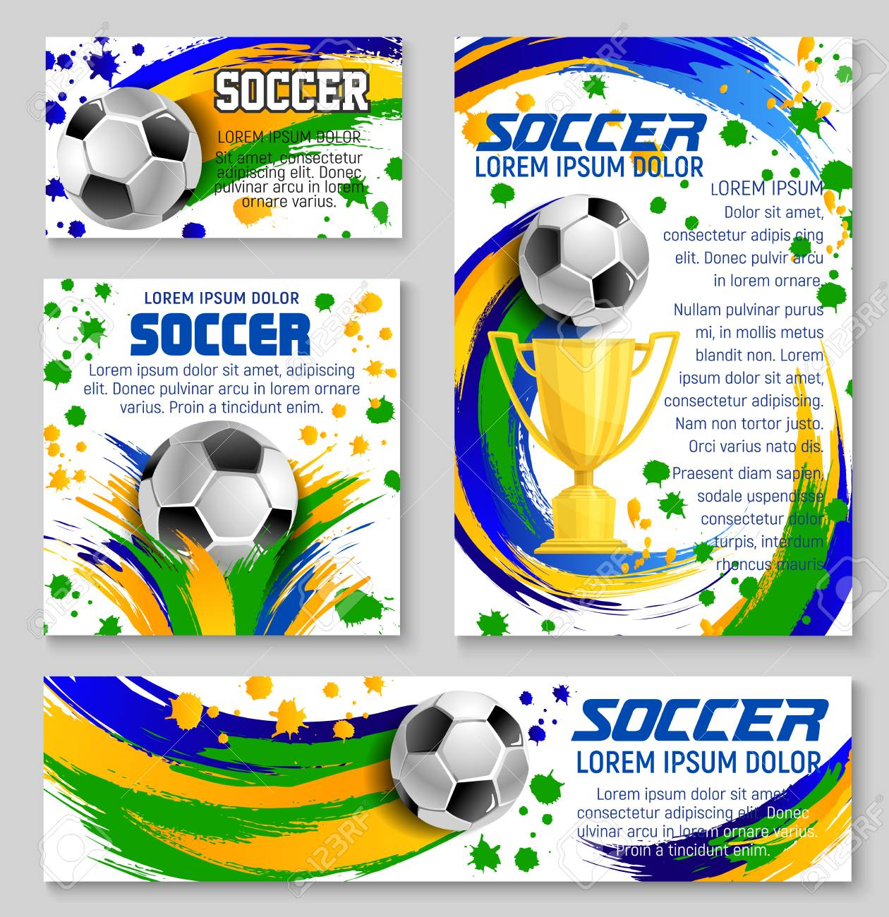 soccer ball and golden trophy banner for football sport club