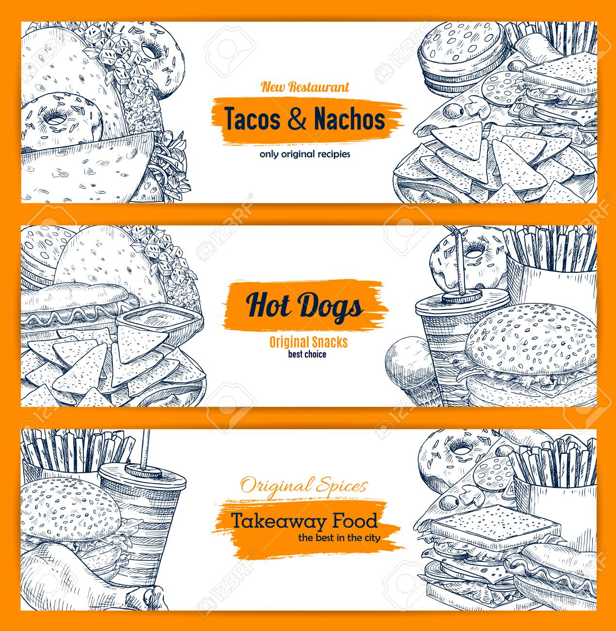fast food banner of american and mexican restaurant menu template