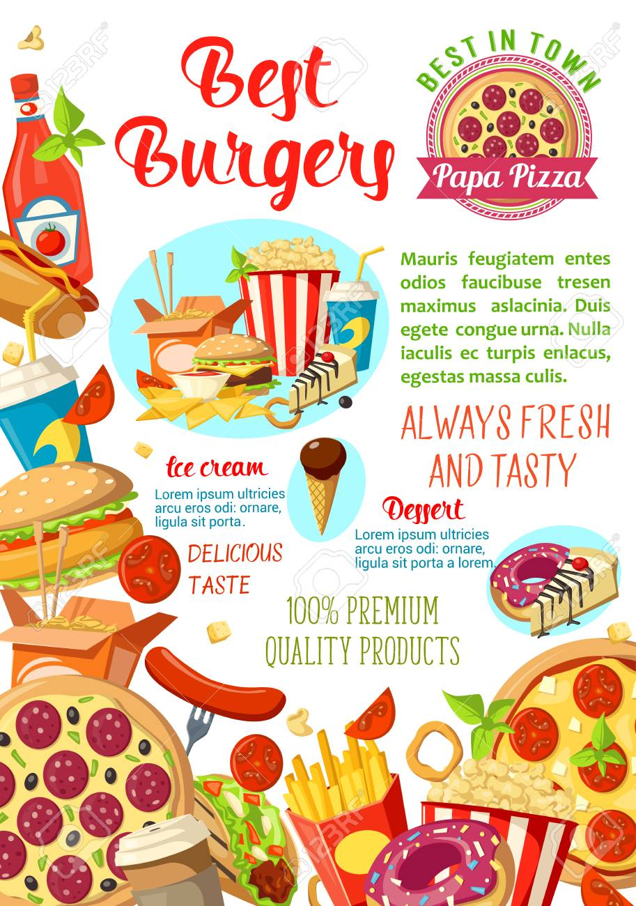 Fast Food Restaurant Burger Cafe Or Pizzeria Menu Poster Template Royalty Free Cliparts Vectors And Stock Illustration Image 94977067