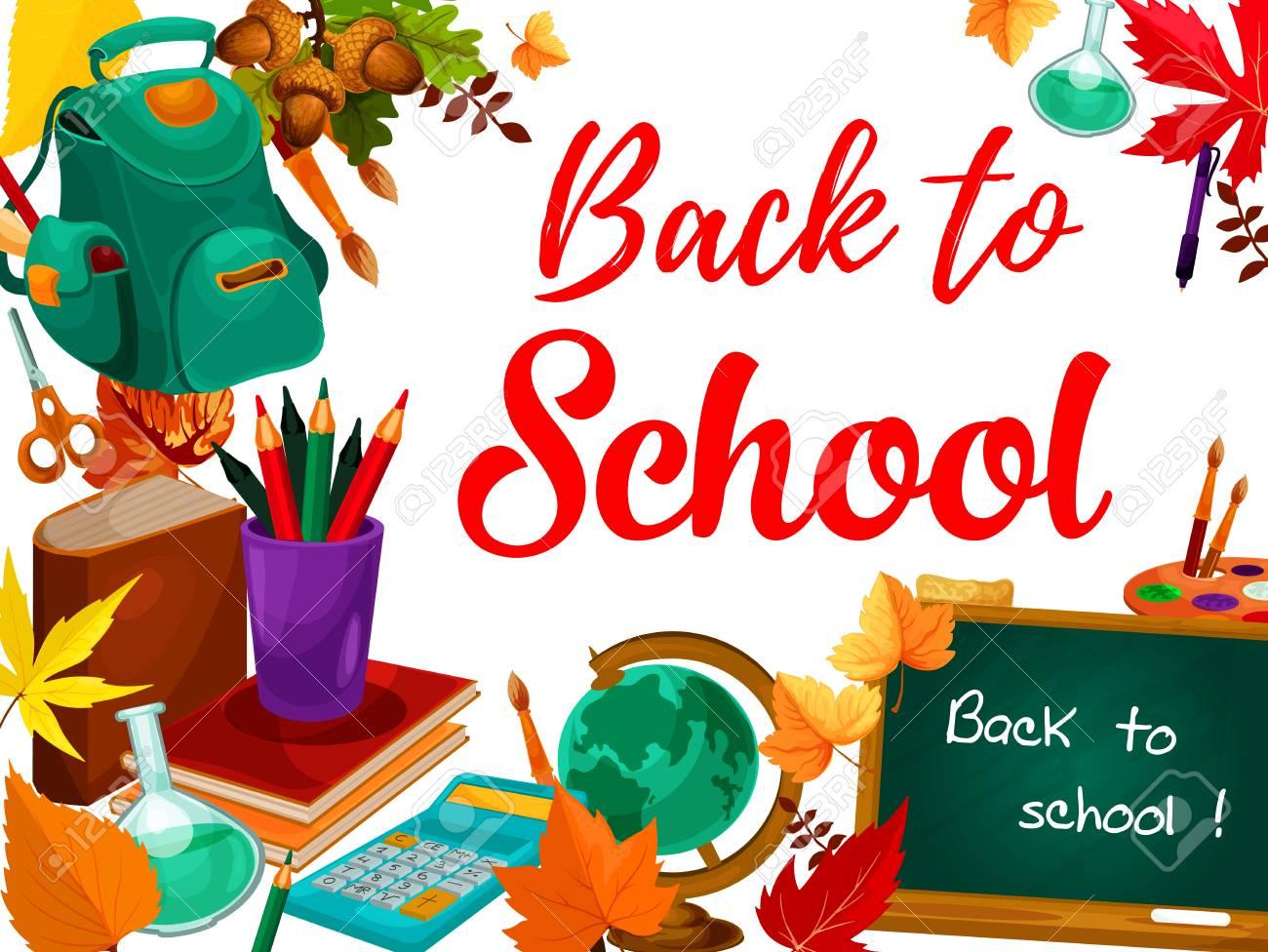 Back To School Chalk Text On Blackboard Greeting Card School
