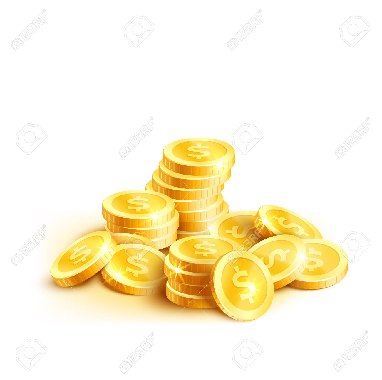 Golden coins or gold cent coin pile icon  Vector isolated symbol